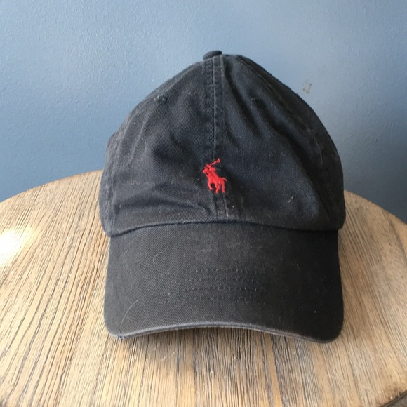 d8c9005f79062 Black polo dad hat leather strap red logo. M 5ae64d98f9e501946463046b